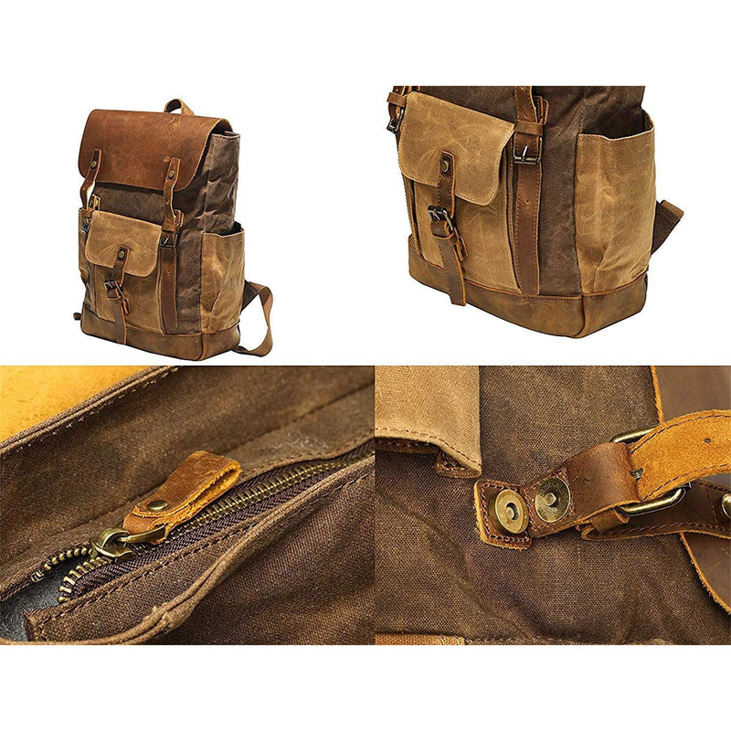 Vintage Canvas Waxed Leather Backpack w/Laptop Storage