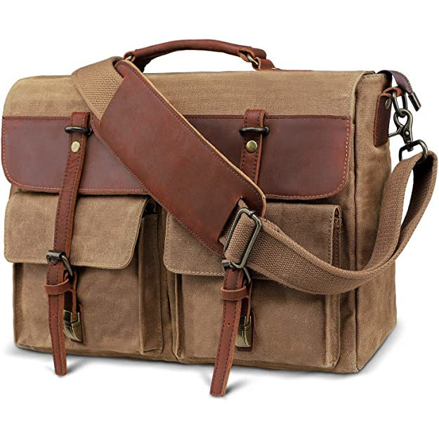 Canvas and Leather Briefcase Laptop Bag