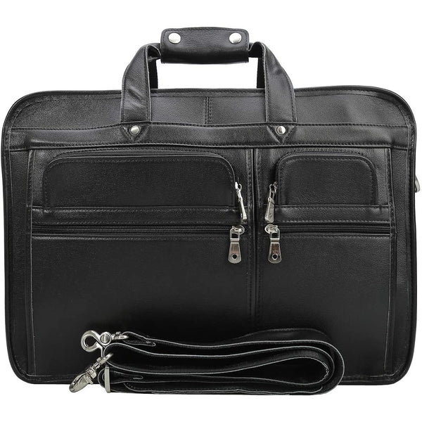 "Modern 18""Travel Laptop Briefcase  Full Grain Leather Messenger Bag"