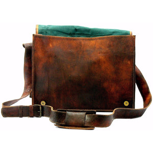 15'' Brown Rustic Leather Messenger Bag