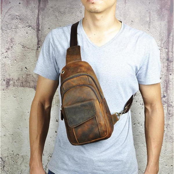 Crazy Horse Leather Casual Fashion Chest Sling Bag