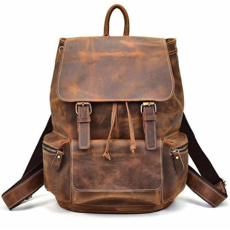 a2ac7e45b24 Vintage Crazy Horse Leather Backpack Brown   Leather Bags Gallery