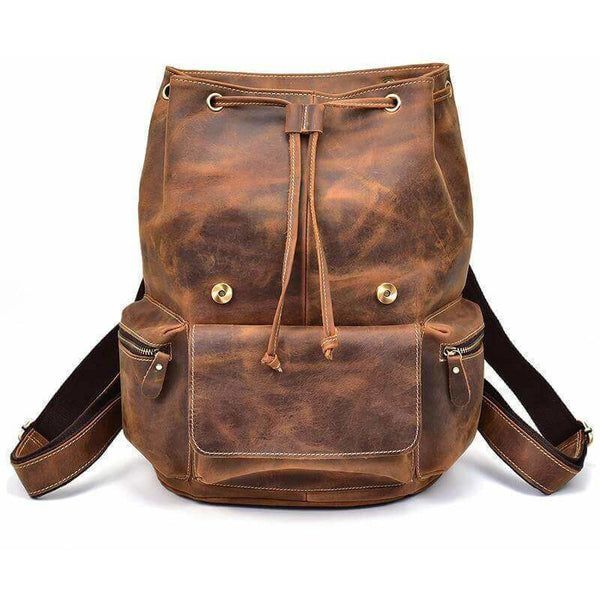 Brown Vintage Handmade Crazy Horse Leather Backpack