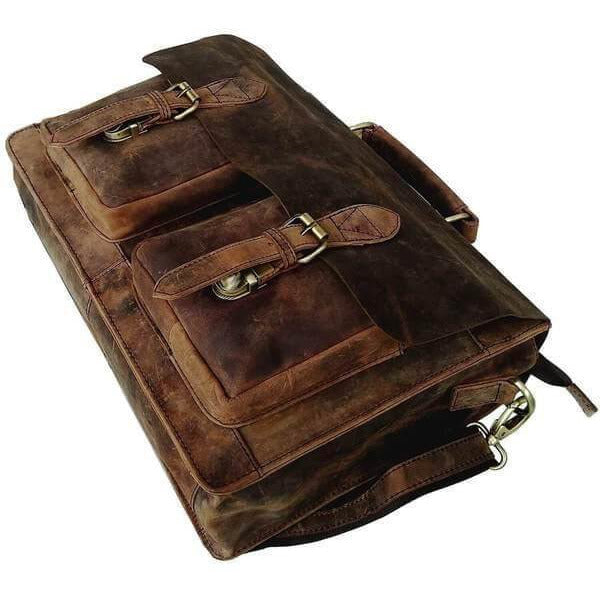 Vintage Retro Buffalo Leather Briefcase