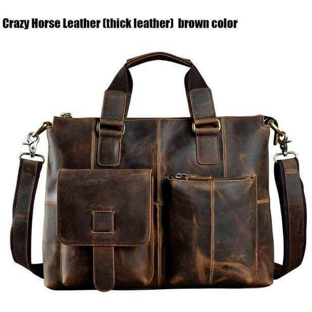 Vintage Cow Leather Laptop Bag