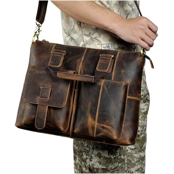 "15"" Brown Vintage Cow Leather Laptop Bag For Men"