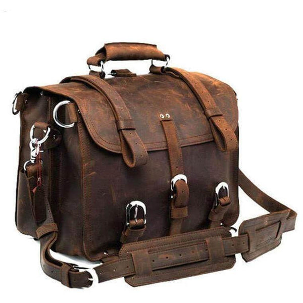 Full Grain Cow Leather Briefcase Backpack - Brown