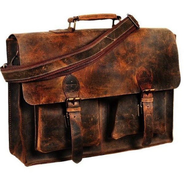 Retro Style Buffalo Leather Bags W/ With A High-quality Canvas