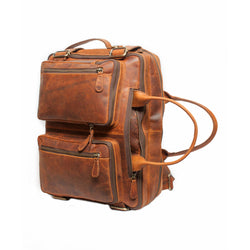 Large Brown Leather Travel Briefcase Backpack