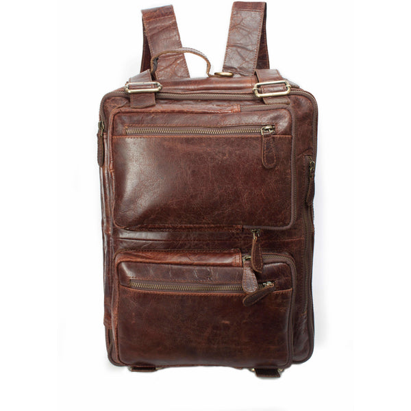 Multi-Function Large Brown Leather Travel Briefcase Backpack