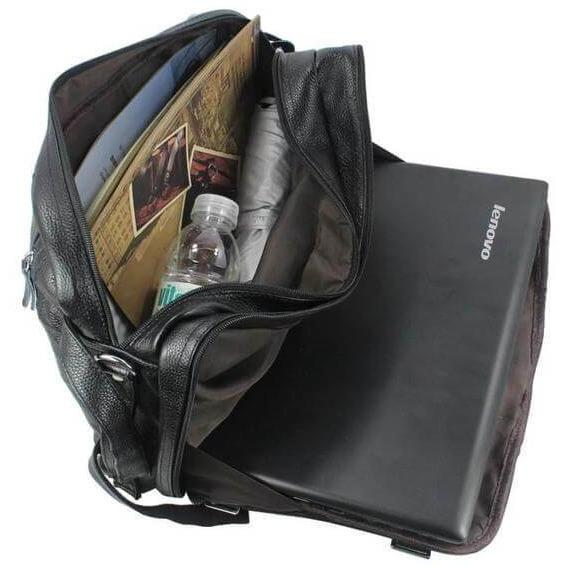 Black Multi-Function Large Leather Travel Briefcase Backpack
