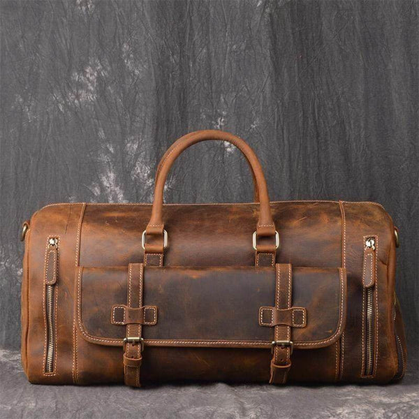 Crazy Horse Men's Leather Overnight Bag