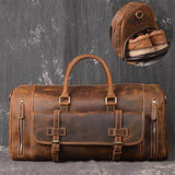 20'' Crazy Horse Men's Leather Overnight Bag