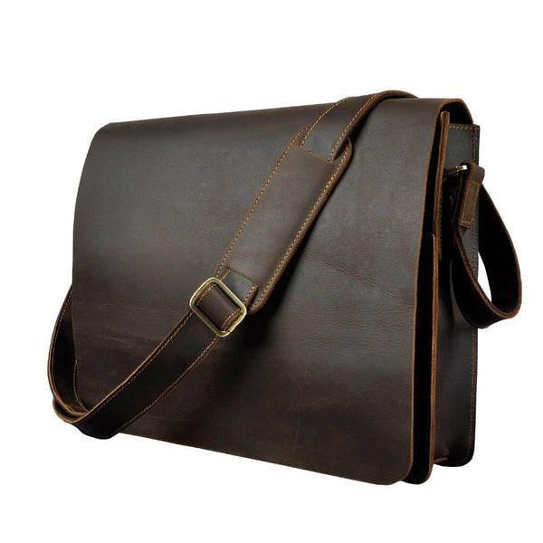Vintage Distressed Leather Messenger Bag