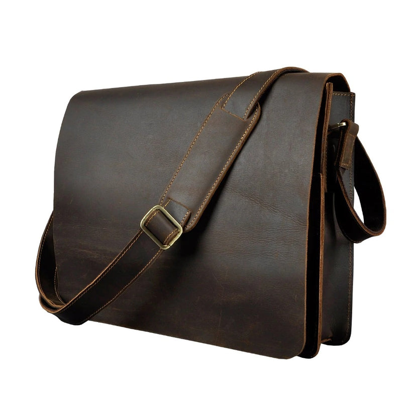 Vintage Distressed Leather Messenger bag For The Stylish Men