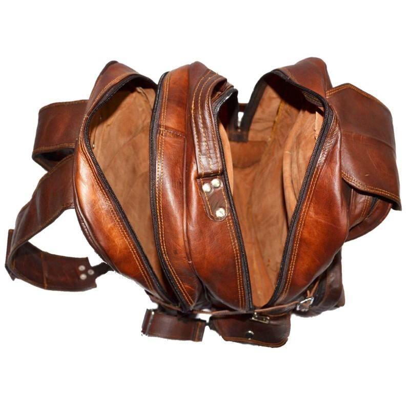 Extra Large Vintage Leather Rucksack Backpack with Multi Function Pockets