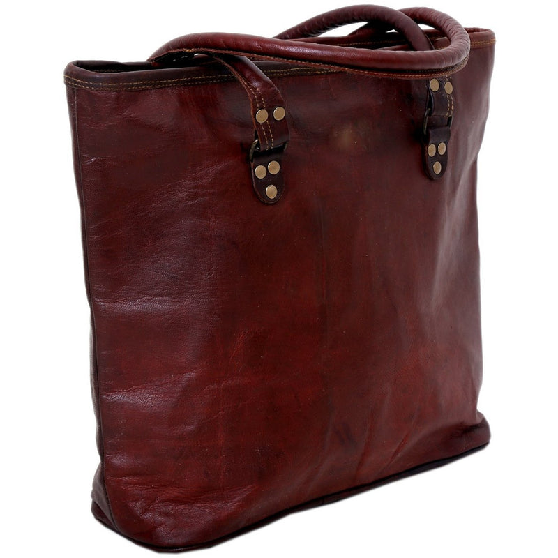 Vintage Leather Tote Bag for Women