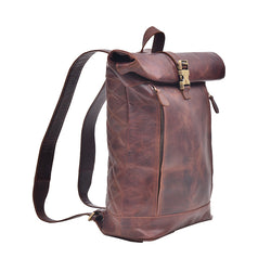 Roll Up Genuine Leather Backpack in Dark Color