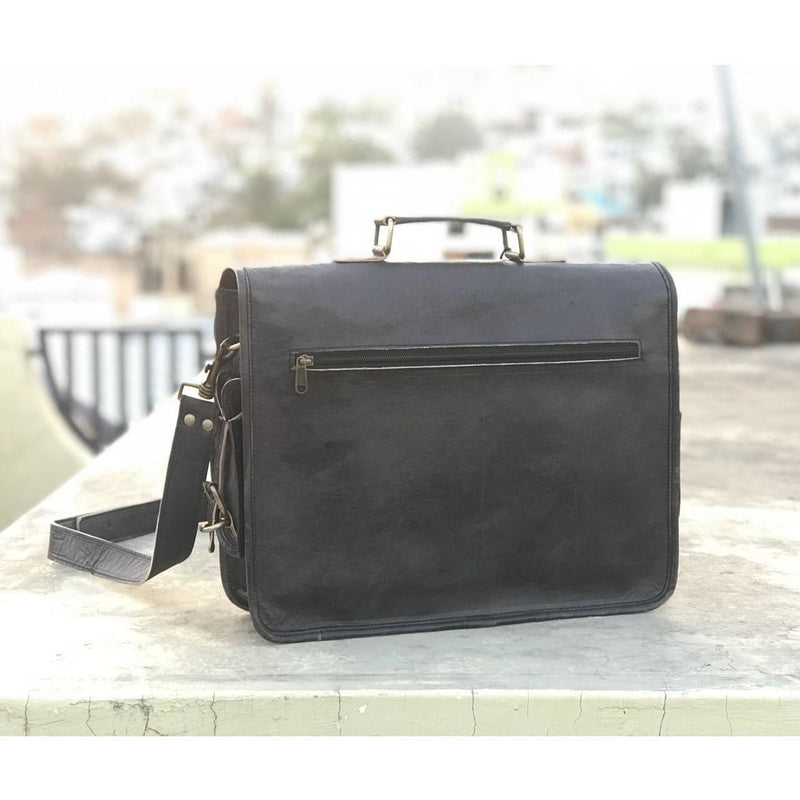 Handmade Vintage Black Leather Briefcase