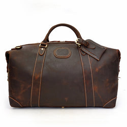 Crazy Horse Cowhide Leather Travel Bag With Rivet