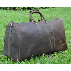 "24"" Genuine Leather Mens Leather Duffle Bag Vintage"