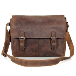 Vintage Crazy Horse Leather Messenger Briefcase
