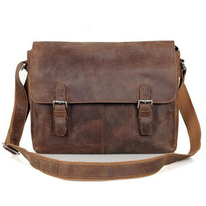 Vintage Crazy Horse Leather Messenger Bag