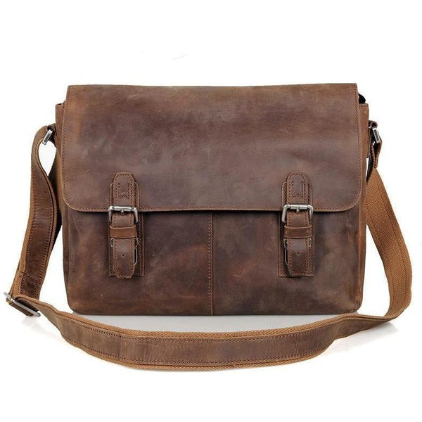 Vintage Crazy Horse Leather Messenger Briefcase  For The Ideal Man