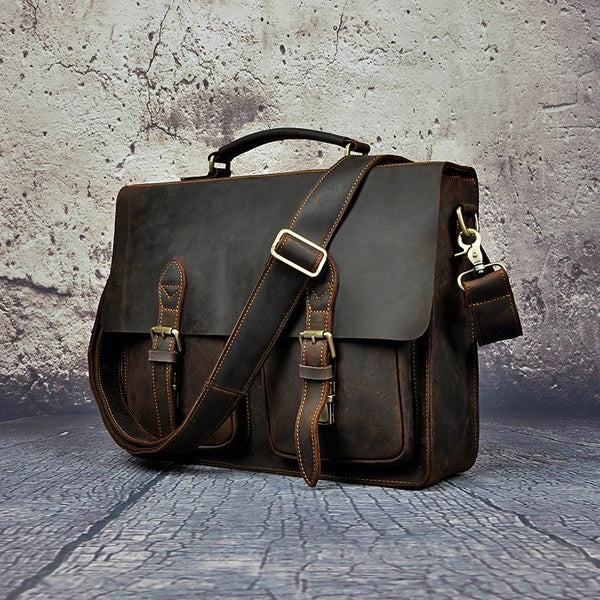 Men's Crazy Horse Leather Retro Designer Business Briefcase