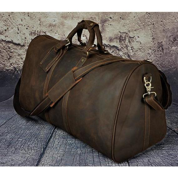 Genuine Leather Mens Vintage Leather Duffle Bag