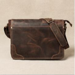 Crazy Horse Leather Men Fashion Messenger bag