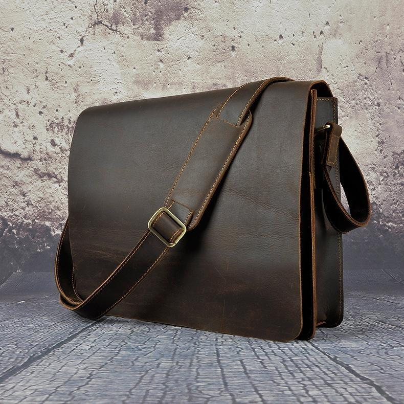 369ab9f24d8 Vintage Distressed Leather Messenger bag For The Stylish Men