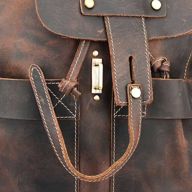 Vintage Leather Duffel Backpack