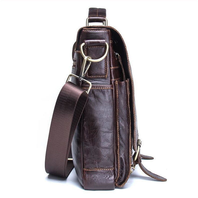 Brown Leather Shoulder Messenger Bag For Men