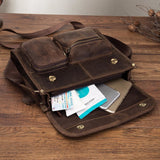 Vintage Distressed Leather Messenger Bag Brown