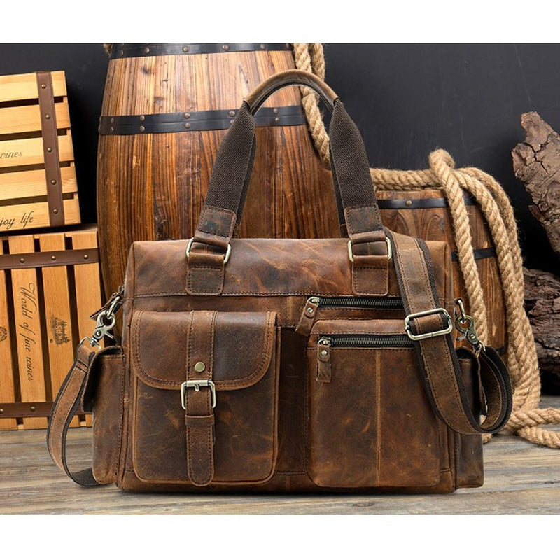 Genuine Vintage Retro High Capacity Travel Leather Shoulder Handbag