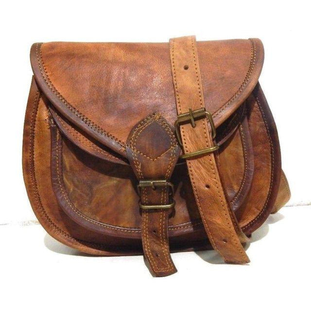 Handmade Vintage Leather Crossbody Messenger Bag