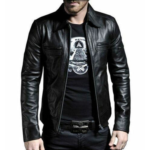 Genuine Black Leather Jacket With Long Collar