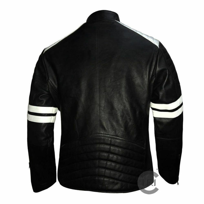 Genuine Leather Mayhem Black Leather Jacket With White Stripes