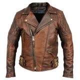 Men's Biker Motorcycle Brown Brando Vintage Top Upper Winter Leather Jacket
