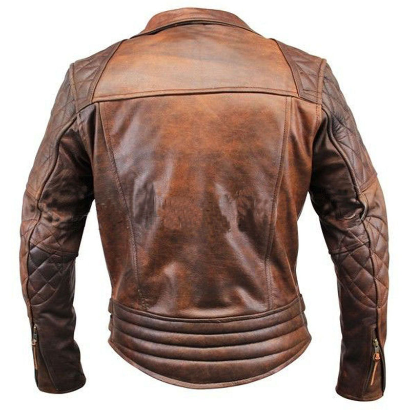 Men's Vintage Biker Motorcycle Brown Leather Jacket