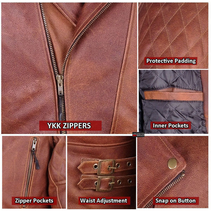 Men's Motorcycle Distressed Brown Heavy-Duty Biker Leather Armor Jacket
