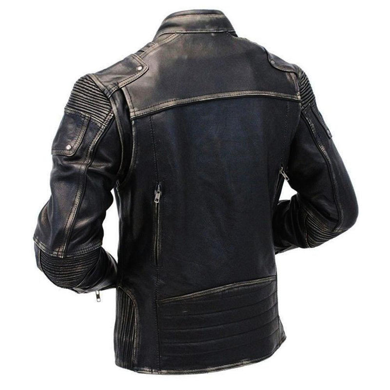 Genuine Cow Leather Distressed Black Racer Jacket