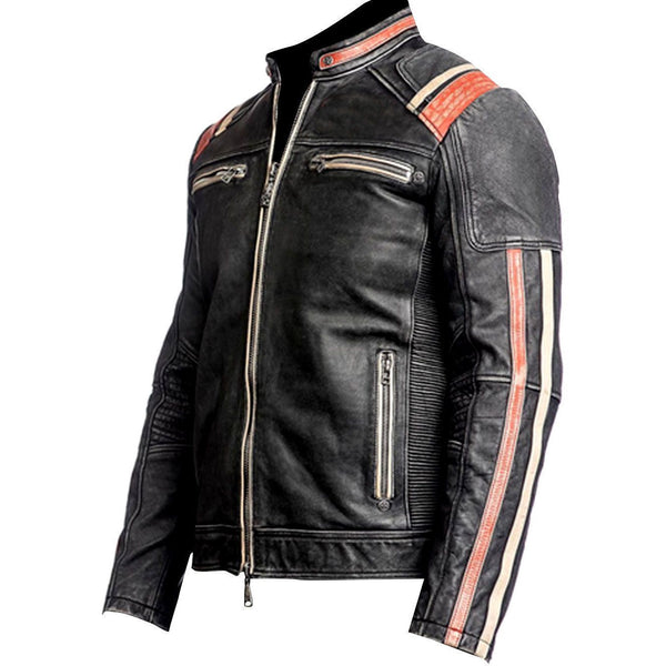 Genuine Leather Distressed Dark Black Handmade Motorcycle Jacket