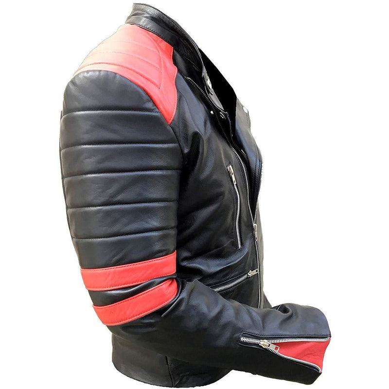 Full Grain Cow Leather Jacket - Black Color W/ Red Theme