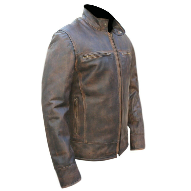 Genuine Leather Distressed Brown Full Collar Jacket