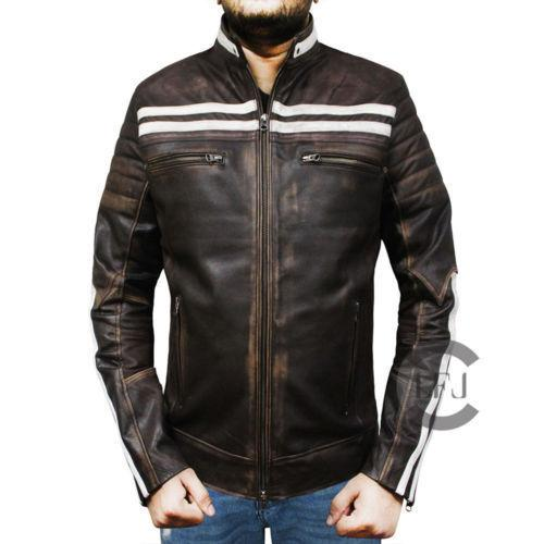 Retro Motorcycle Genuine Handmade Leather Jacket for Men
