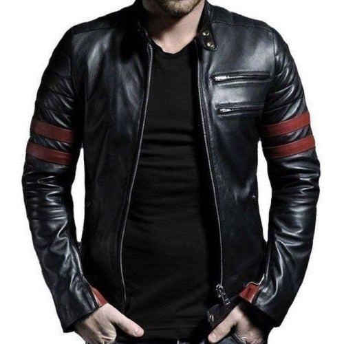 Genuine Leather Mayhem Black Leather Jacket With Red Stripes