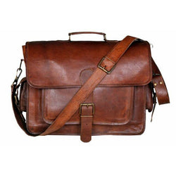 "17/"" Men Real Goat Leather Vintage Brown Messenger Shoulder Laptop Bag Briefcase"