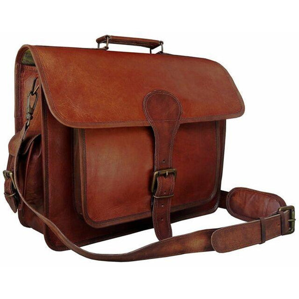 Men's Brown Goat Leather Genuine Vintage Laptop Bag